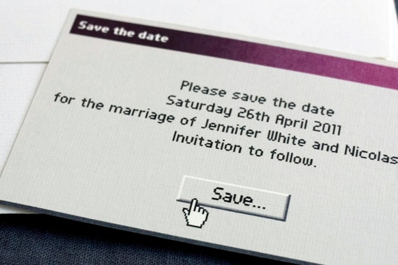 """Funny / geek / Save the date card / Unusual Std / """"Save As..."""""""