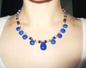 Lapis, Garnet, Mauve Turquoise  In 14K Vermeil Necklace