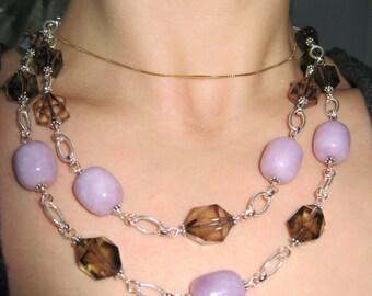 Rare Lavender Opal, Smoky Quartz And Sterling Silver Necklace