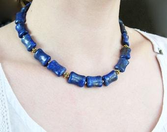 Lapis Lazuli In Vermeil Necklace & Bracelet Set