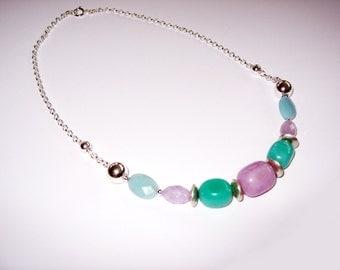 Opal, Amethyst Pastel Necklace in Sterling Silver