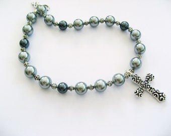 Like A Prayer Bold Antiqued Silver And Faux Pearls Necklace