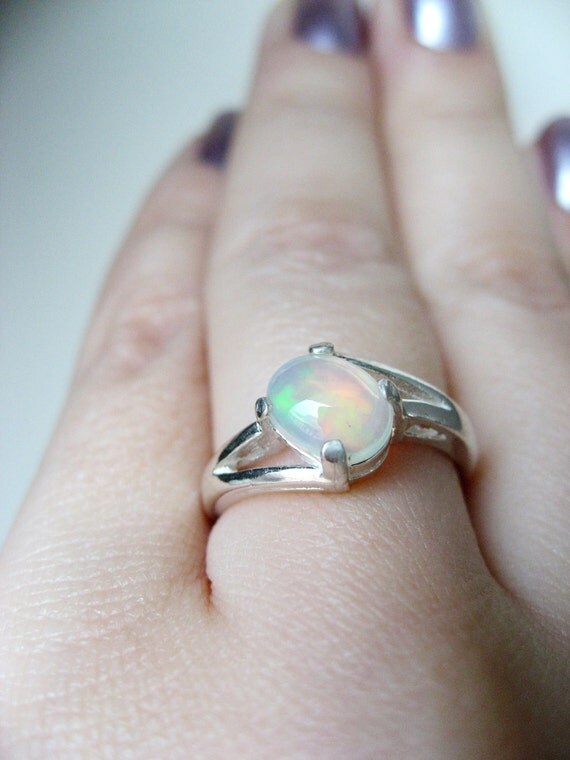 Natural Multicolor Opal In Sterling Silver Ring 0.7ct. Size 7