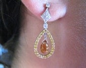 Yellow topaz with yellow & white diamonds earrings