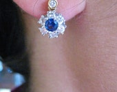 Sapphire Two tone Diamond clusters earrings
