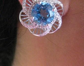 Blue Topaz and Diamond Earings 14K white Gold