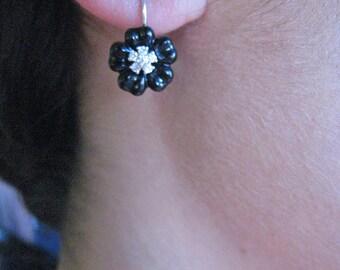 Black Onyx and Diamond Flower Earing. 14K white Gold