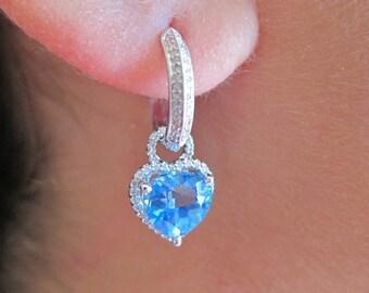 Blue Topaz & Diamond white gold earrings
