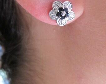 White & black diamond flower earrings
