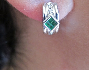 Invisible set princess cut emeralds & diamonds on white gold earrings