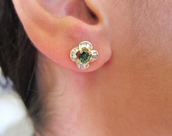 Green tourmaline 18K yellow earrings