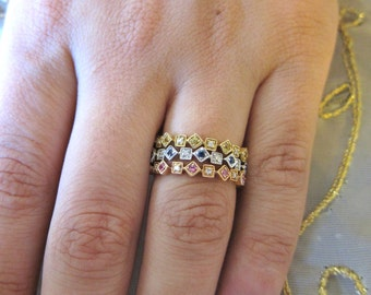 18K White, Pink, Yellow stackable ring set.