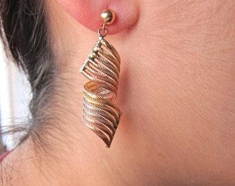 Three Tone18K Gold Earrings.