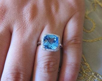Blue Topas & Diamond Gold Ring