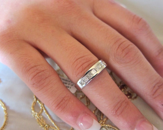 Princess cut channel set14K white gold wedding band