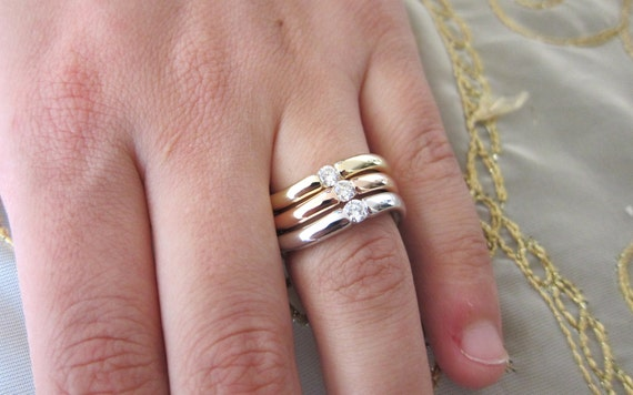 Stackable three tone diamond rings