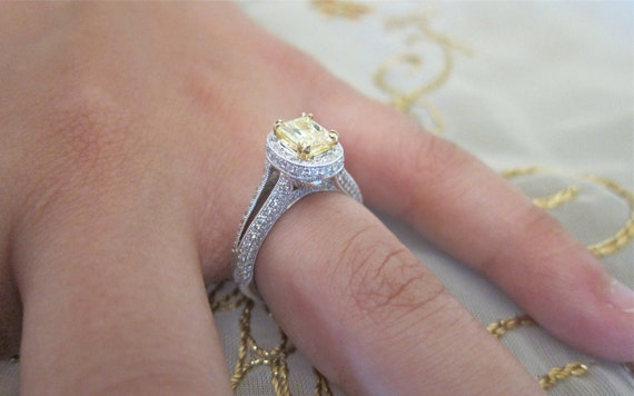 Yellow Emerald cut micro pave diamond 18K white gold engagement ring.