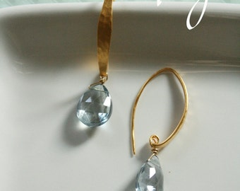 Lucy Blue Mystic Quartz Hammered Gold Hoop earring