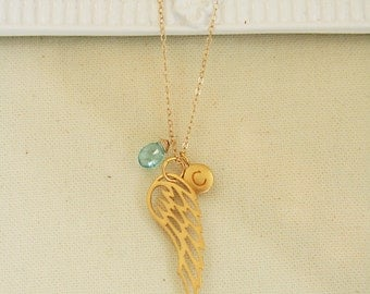 Gold Angel Wing Necklace Personalized with Birthstone and Initial, guardian angel necklace, angel wing charm, personalized gifts, her gifts