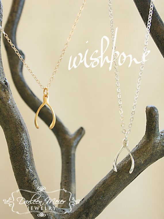 Wishbone Gold Plated or Sterling Silver Charm necklace
