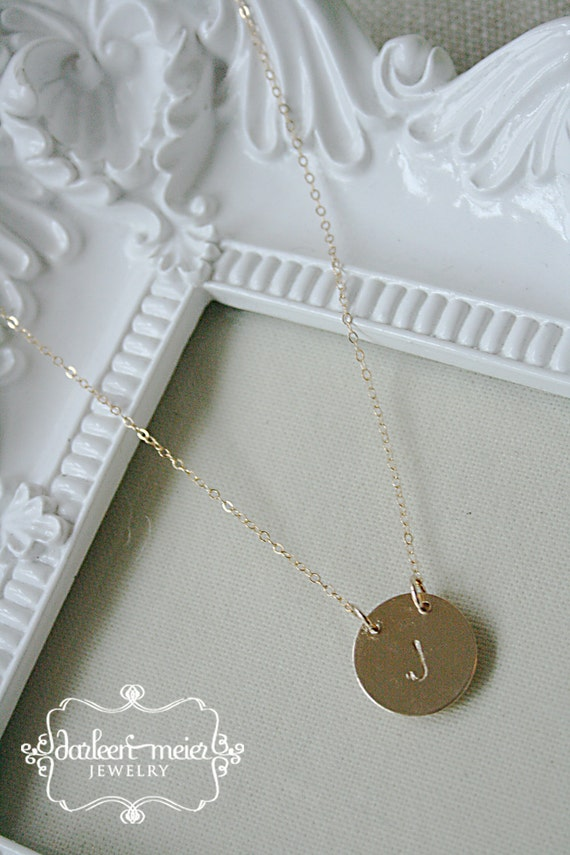 Single Initial Personalize Stamped Gold Disc Necklace