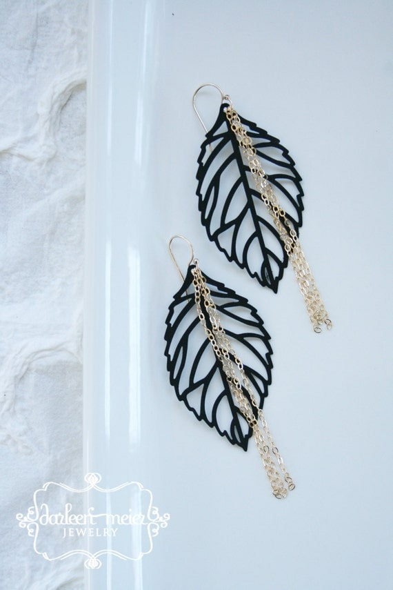 Medine Jet Black Leaf earrings with Gold Chain