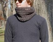 Steel Grey Men's Neck Warmer, Crochet Winter Accessories