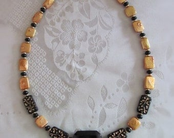 Black Onyx and Gold Color MOP Necklace