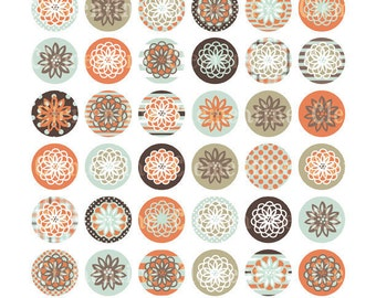 Flower bottle cap images, bottlecap images, one inch circles, royalty-free, digital collage sheet- Instant Download