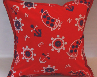 Preppy Nautical Pillow Cover- Anchor Print- Vintage Fabric- 16 x 16 inch 40 x 40 cm