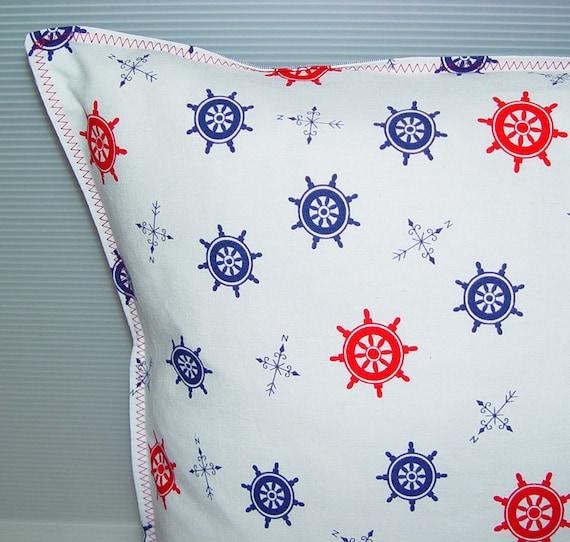 Nautical Pillow Cover - Retro Preppy Fabric- 18 x 18  46 x 46 cm