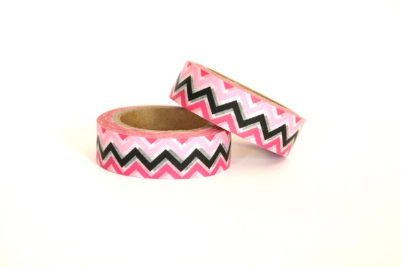 CLEARANCE SALE - 1 Roll of Pink, Black, and White Chevron Zig Zag Masking Tape / Japanese Washi Tape (.60 inches wide x 33 feet long)