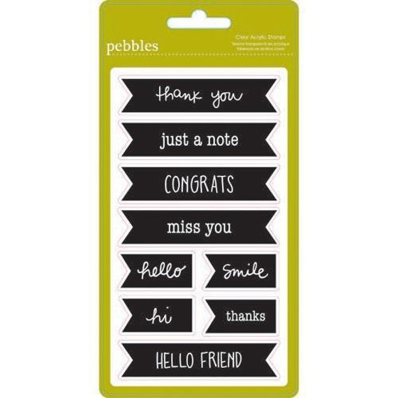 9 Clear Acrylic Banner Pennant Flag Stamps by Pebbles Inc - Thank You, Just A Note, Congrats, Miss You, Hello, Smile