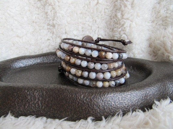 Beaded Leather Gemstone Wrap Bracelet with Morocco Agate