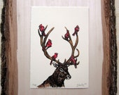 Woodland Animal Print - Elk - Cardinals - Gocco Screenprint - ONLY 2 LEFT! - Antlers - Red Birds - Majestic Host - Limited Edition Print