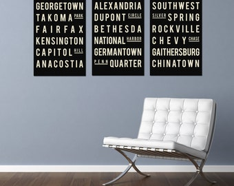 Subway Art - WASHINGTON D.C. - Typography Print - Holiday Gift Guide - Gifts for Him - Gifts for Her - Set of 3