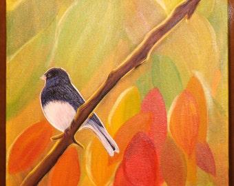 "FALL BIRD Original Painting on 12""X12"" stretch canvas"