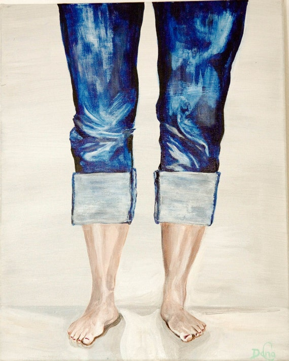 """Acrylic Painting, """"JEAN"""" -  Original Acrylic Painting - #EtsyGifts, #EtsySuccess, jeans, toes, nail polish, skinny jeans, signed by artist"""