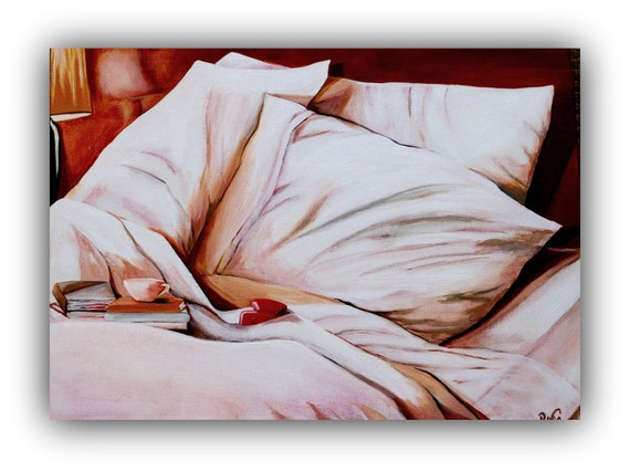 "A RESTLESS NIGHT - Original Oil Painting 24""X18"" - signed by the DanaC  (pillow, bed, sheets, blanket, cup, book)"