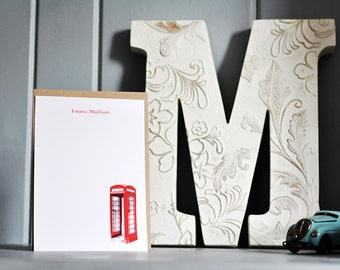 British - Custom Personalized Stationery - Set of 10 - Red Telephone Booth - London