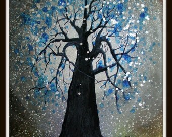 Blue Whimsical Tree - Original Painting by Alma Yamazaki