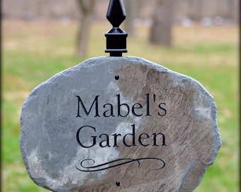 Garden Plaque w/ Lawn Stake / Cottage Sign /stone marker House Cabin Name sign #E-4c