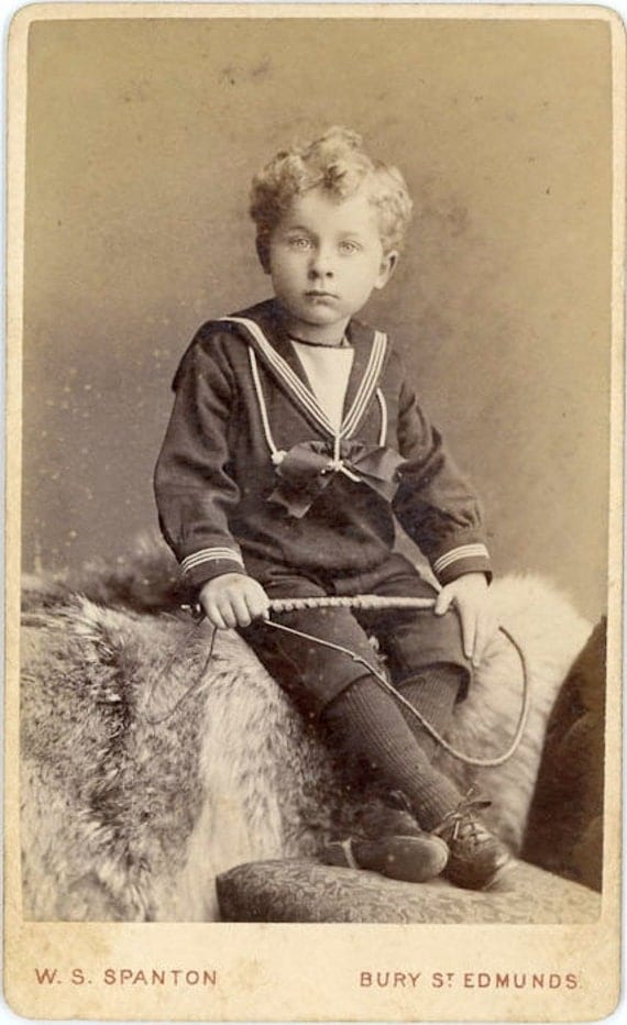 "Vintage CDV Photo From England ""Little Boy With Whip"", Photography, Paper Ephemera, Snapshot, Old Photo, Collectibles - 0018"