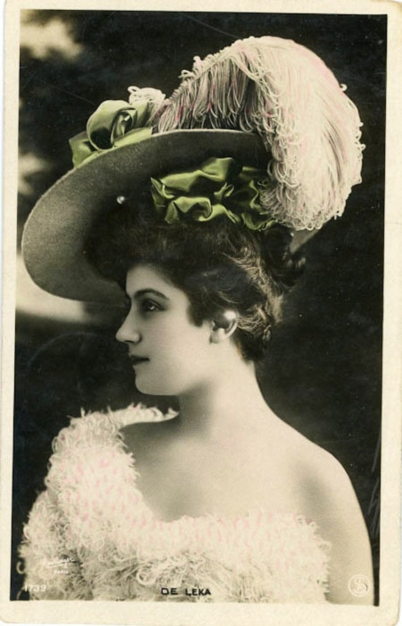 """Vintage Postcard """"Woman in Feathered Hat"""", Paper Ephemera, Collectibles - 0037"""