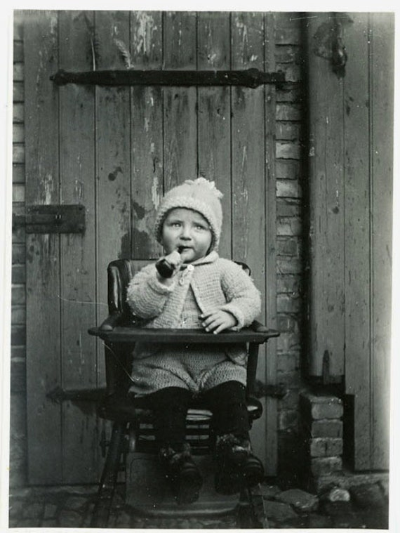 "Vintage Photo ""Little Boy and Pipe"", Photography, Paper Ephemera, Antique, Snapshot, Old Photo, Collectibles - 0037"