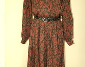Vintage Long Sleeve Midi Long Punk Grunge Slouchy Paisley Secretary Dress size S M