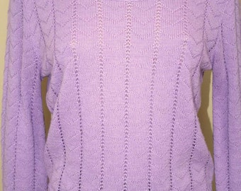 Lovely Lilac Vintage Knit  Crochet Pullover Sweater from Cuddle Knit