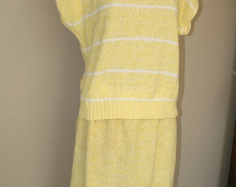 SALE Vintage 80's 2pc Yellow Knit Sweater & Skirt Outfit by Brunny size sz  M SALE