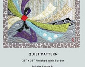 """Ribbon Lotus Breeze - 26"""" x 36"""" art quilt pattern for any level fiber artist or quilter, with full-size pattern and complete instructions"""