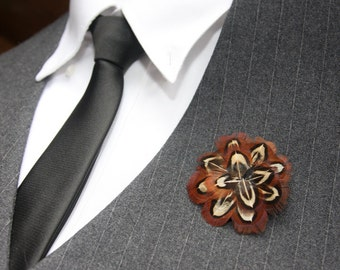 Pheasant Feather Boutonniere Brooch Pin